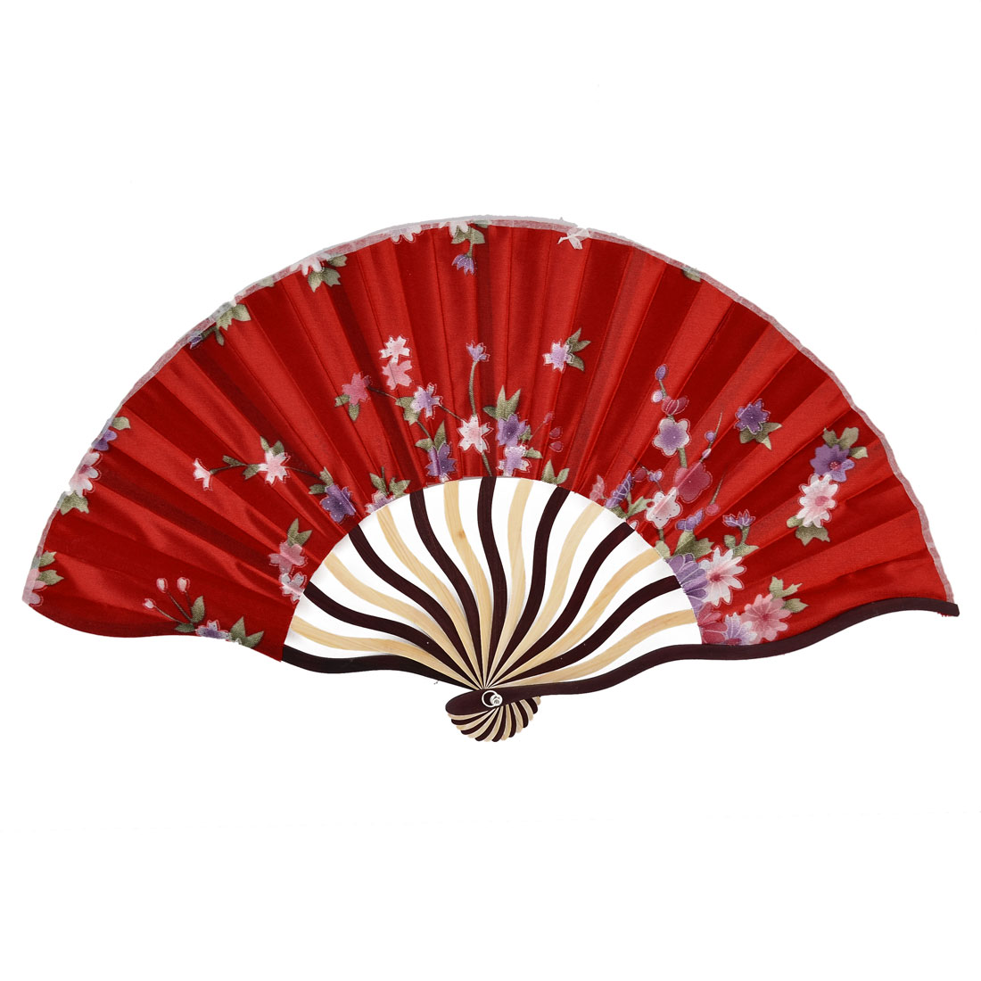 Bamboo Ribs Blossomy Pattern Summer Cool Portable Folding Hand Fan red w Bag