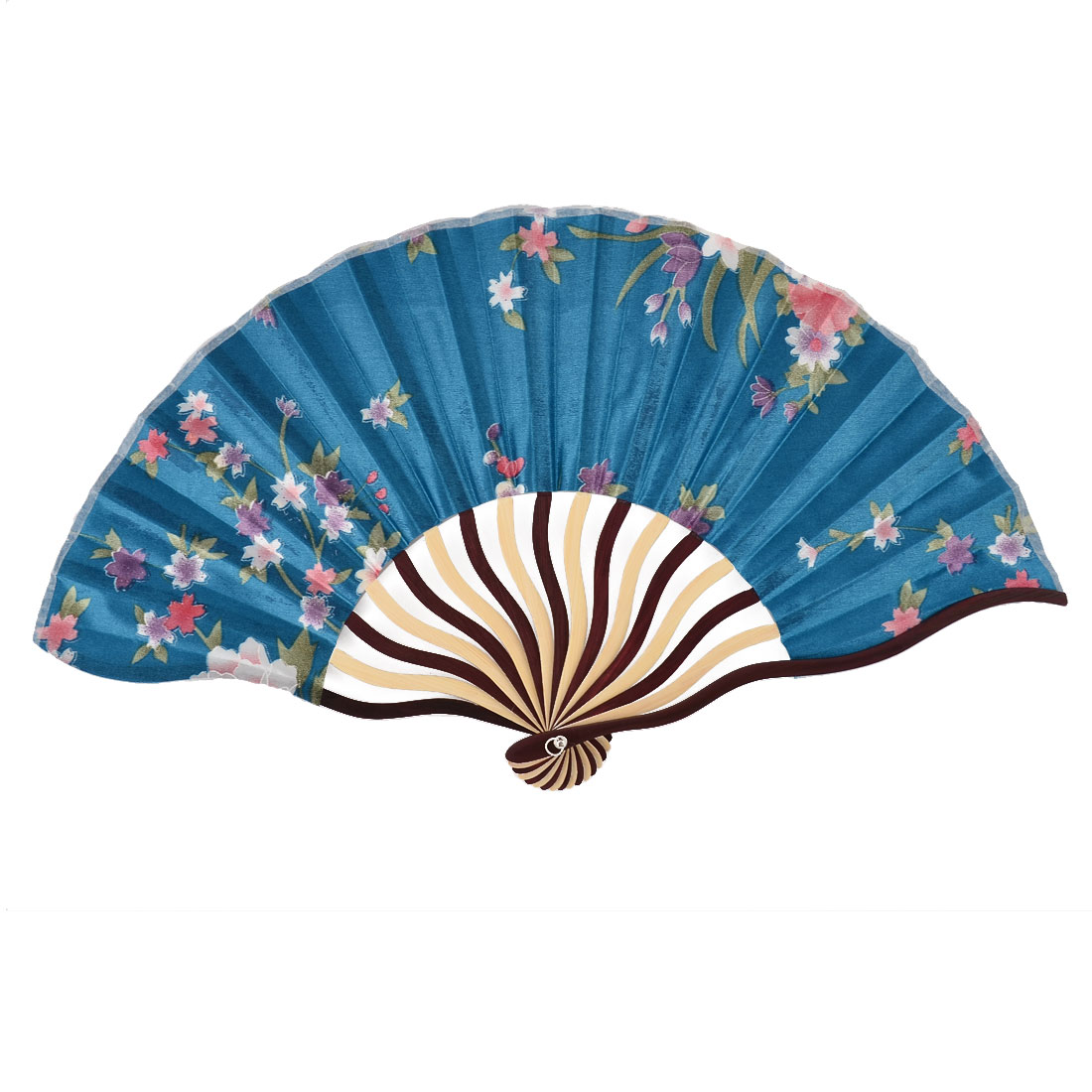 Home Bamboo Flower Pattern Summer Cool Folding Hand Fan Sky Blue w Bag