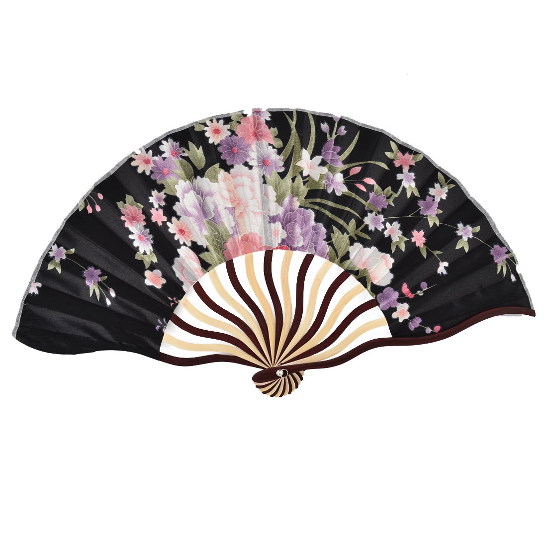 Bamboo Ribs Blossomy Pattern Summer Cool Portable Folding Hand Fan Black w Bag