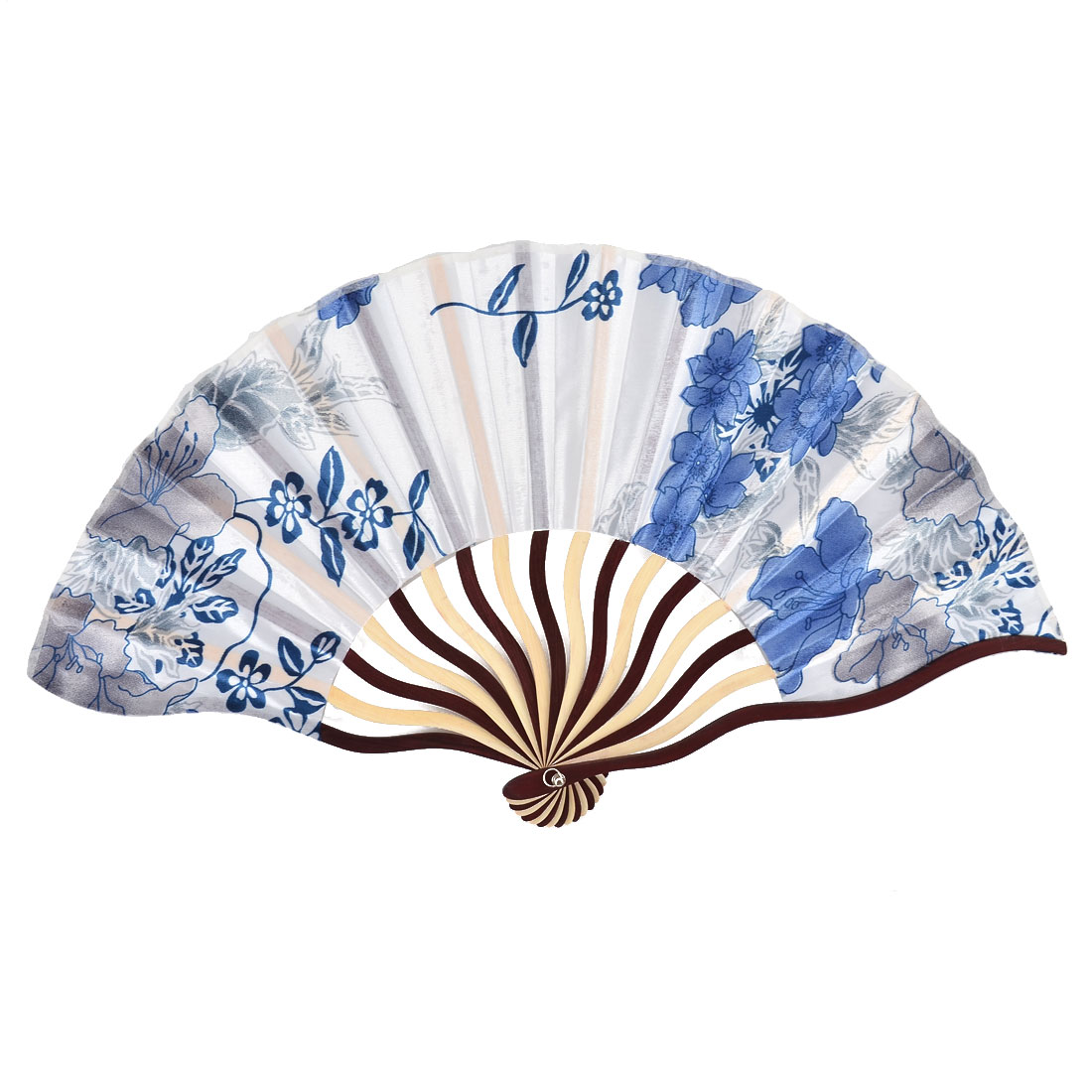 Bamboo Ribs Blossom Pattern Summer Cool Folding Hand Fan White w Pouch