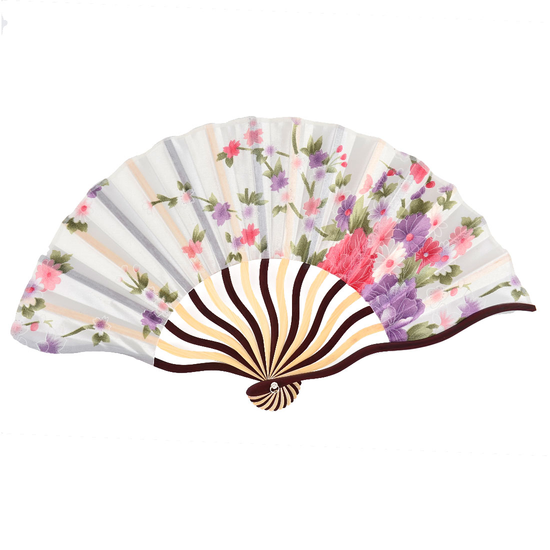 Bamboo Ribs Floral Leaf Printed Summer Cool Foldable Hand Fan Colorful w Bag