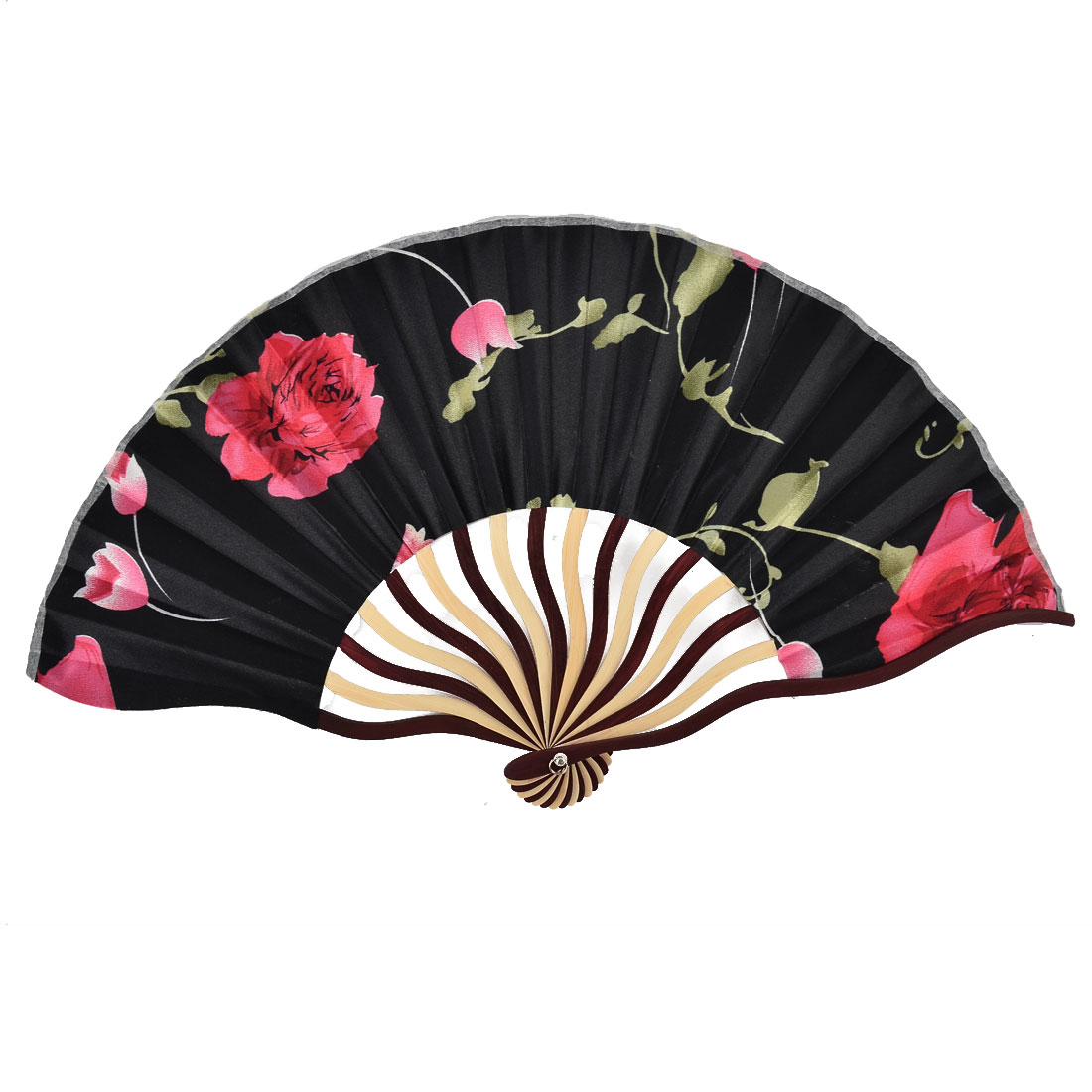 Bamboo Ribs Summer Cool Floral Pattern Portable Foldable Hand Fan Blue w Pouch