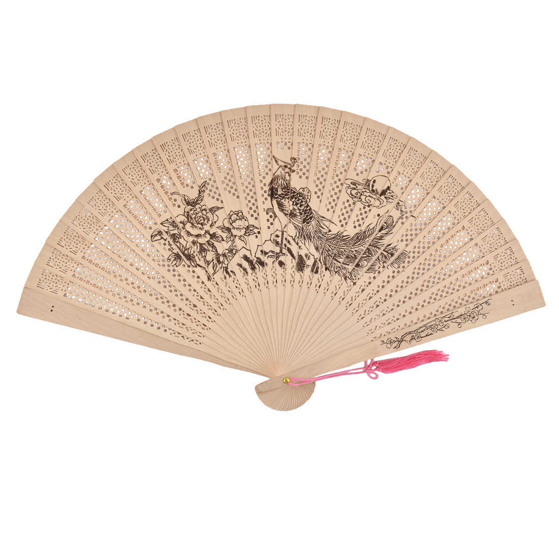 Home Wood Phoenix Pattern Summer Cool Painting Protable Folding Hand Fan