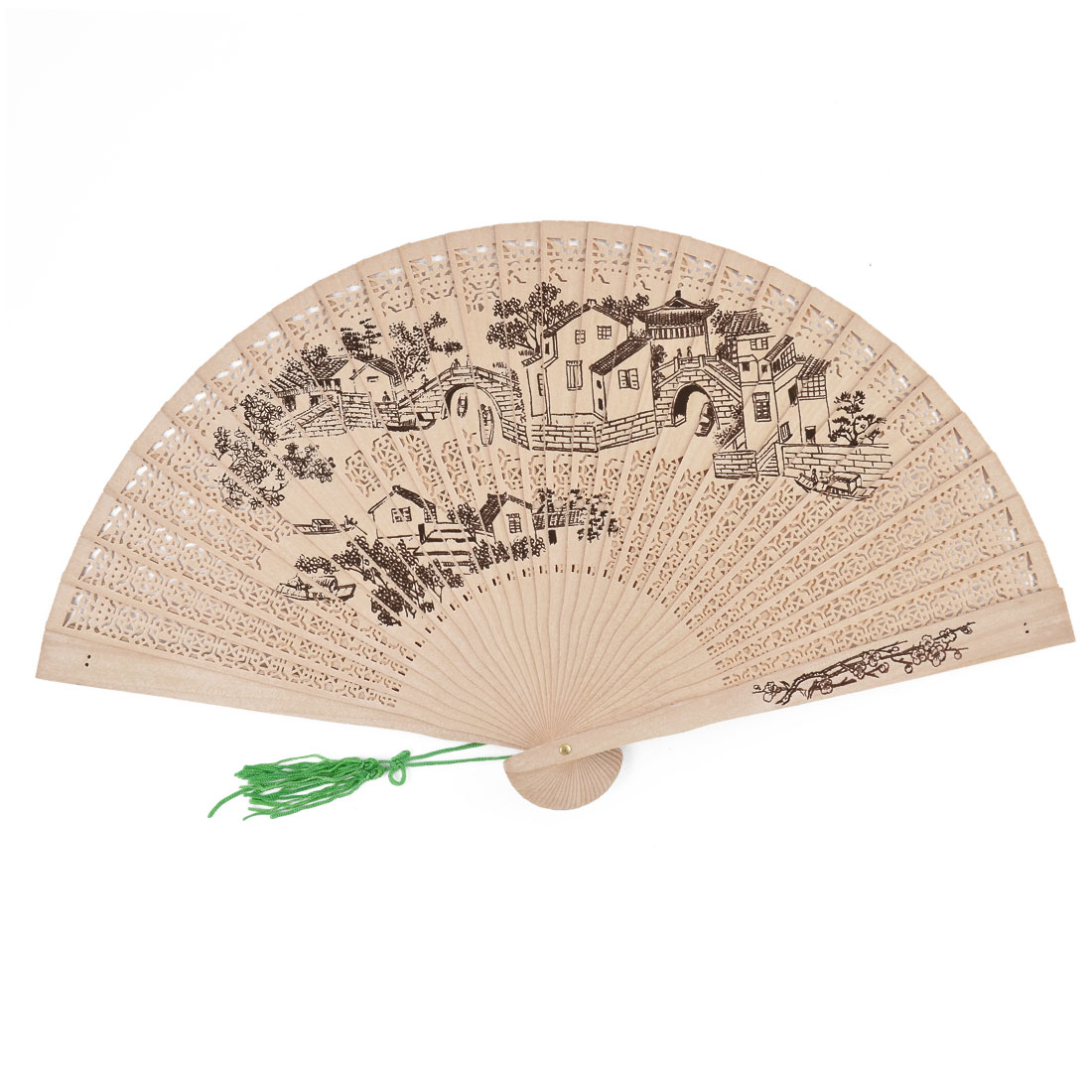 Summer Home Wood Water Country Pattern Painted Protable Folding Hand Fan