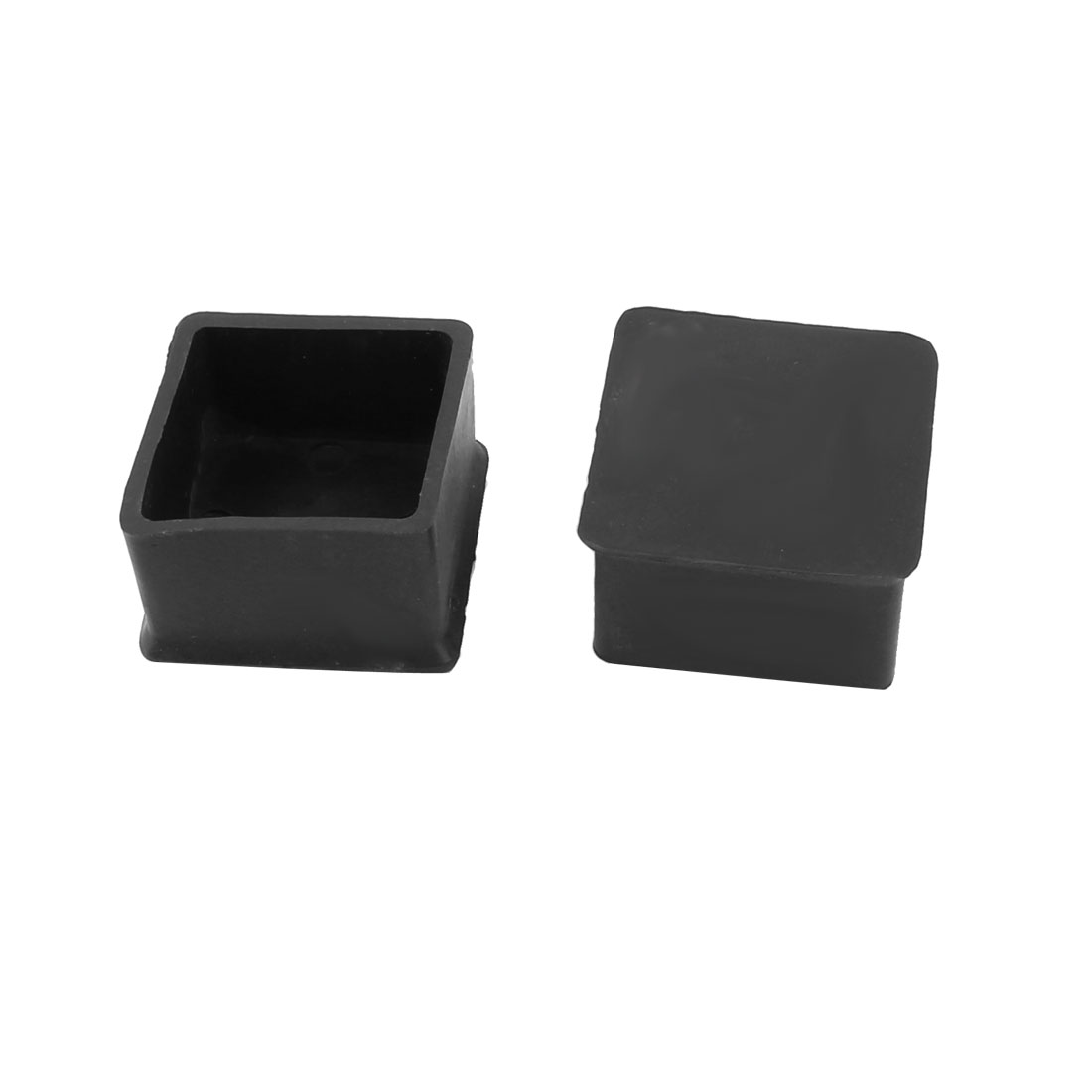 Furniture Desk Chair Rubber Square Shape Foot Legs Protector Cover Pad Black 2pcs