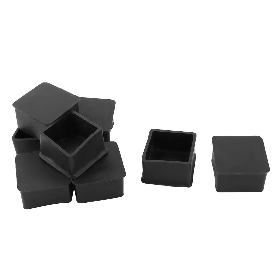 Household Furniture Rubber Square Shaped Chair Desk Leg Foot Cover Protector Pad Black 8pcs