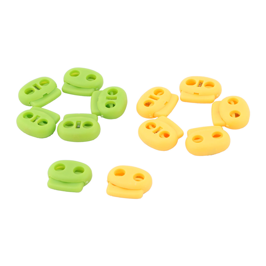 Sportwear Spring Plastic Double 0.2'' Hole End Stop Cord Lock Green Yellow 12pcs