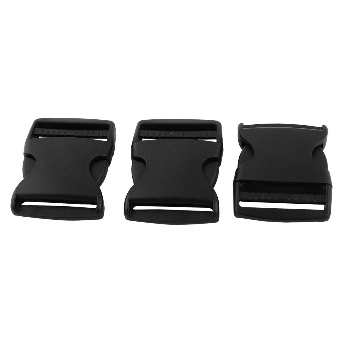 Backpack Belt Webbing Strap Band Plastic Quick Side Release Buckle Black 3pcs