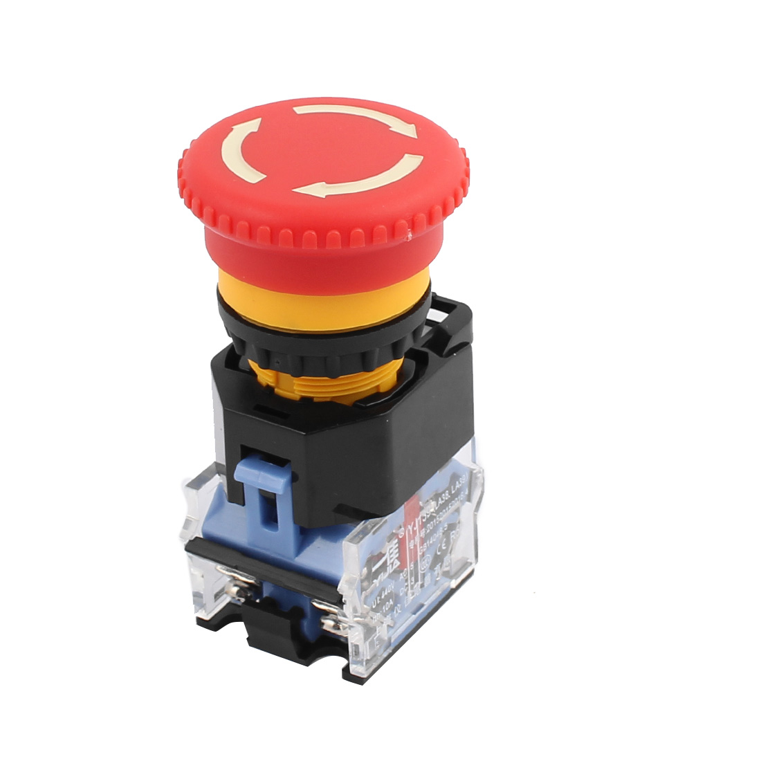Ui 440V Ith 10A Red Mushroom Head Momentary DPST 1NO+1NC Pushbutton Switch