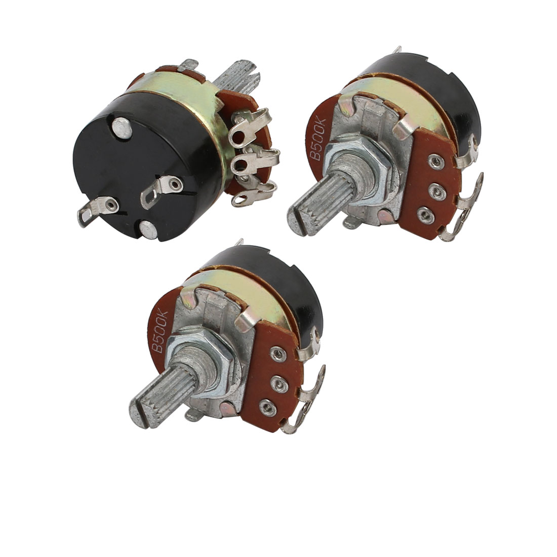 3Pcs 24mmx30mm Single Linear Rotary Switch Carbon Potentiometer 500K Ohm WH138