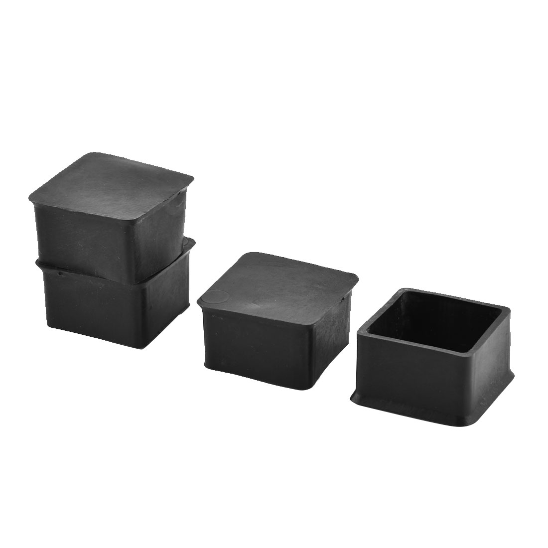 Household Rubber Square Furniture Desk Foot Cover Protecor Black 45 x 45mm 4pcs