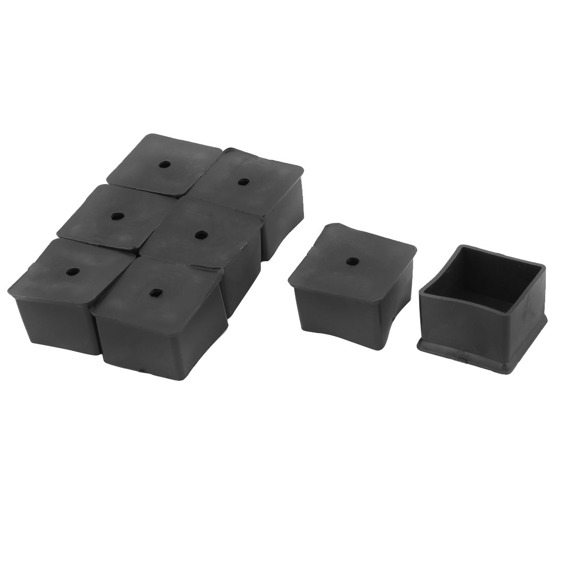 Home Rubber Square Anti Slip Chair Furniture Foot Cover Black 40 x 40mm 8 Pcs