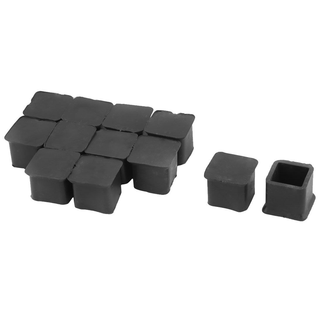 Home Rubber Square Anti Slip Chair Furniture Foot Cover Black 20 x 20mm 12 Pcs