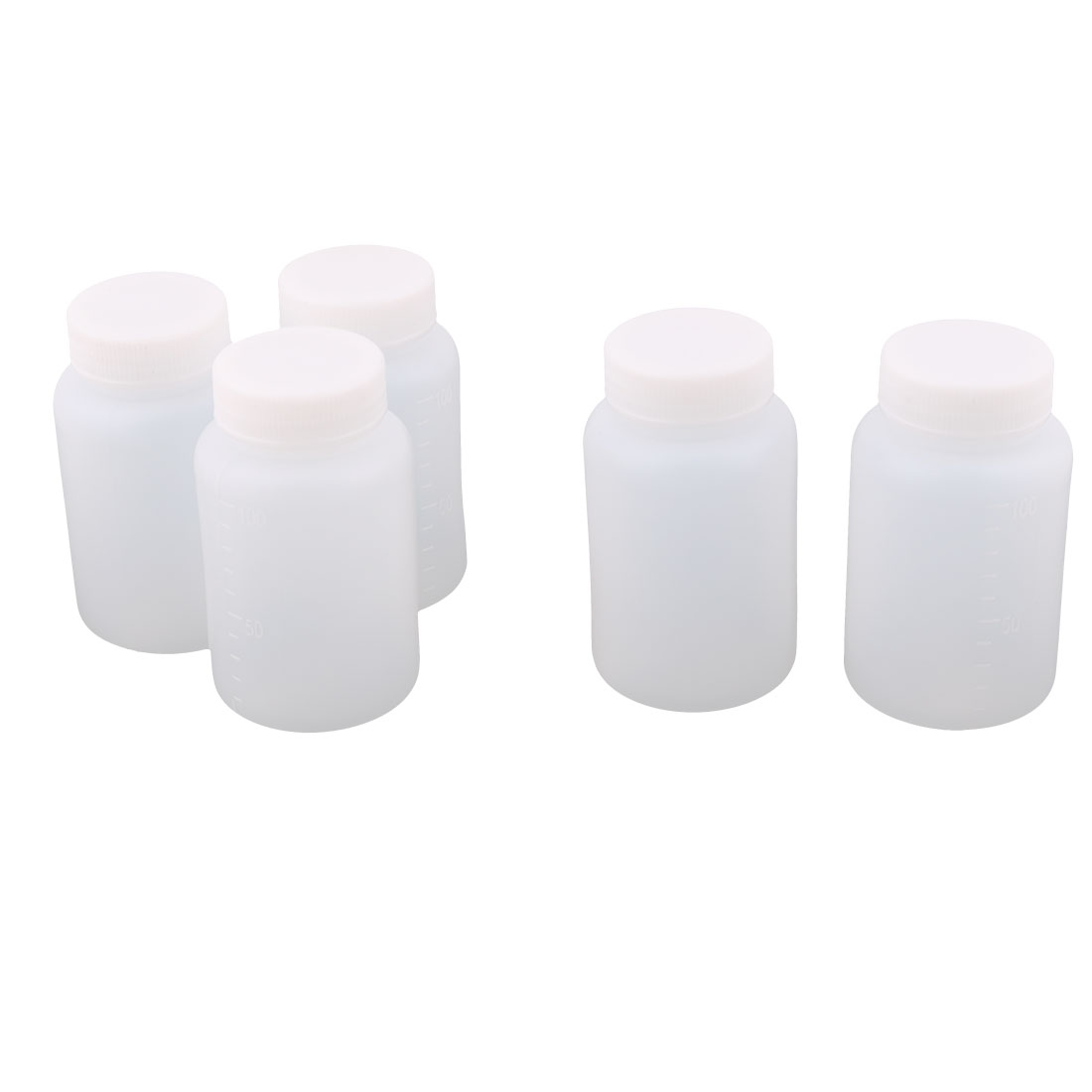Household Kitchen Lab Plastic Water Liquid Bottle White 100ml Capacity 5pcs