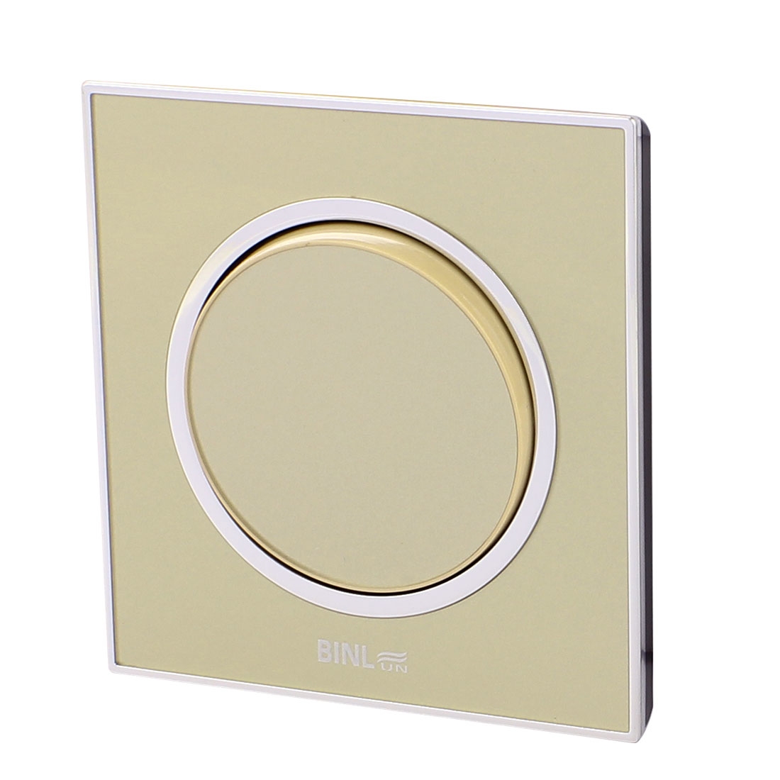 AC 220V 10A Champagne Single Rounded Press Button Wall Mounted Switch 86 x 86mm