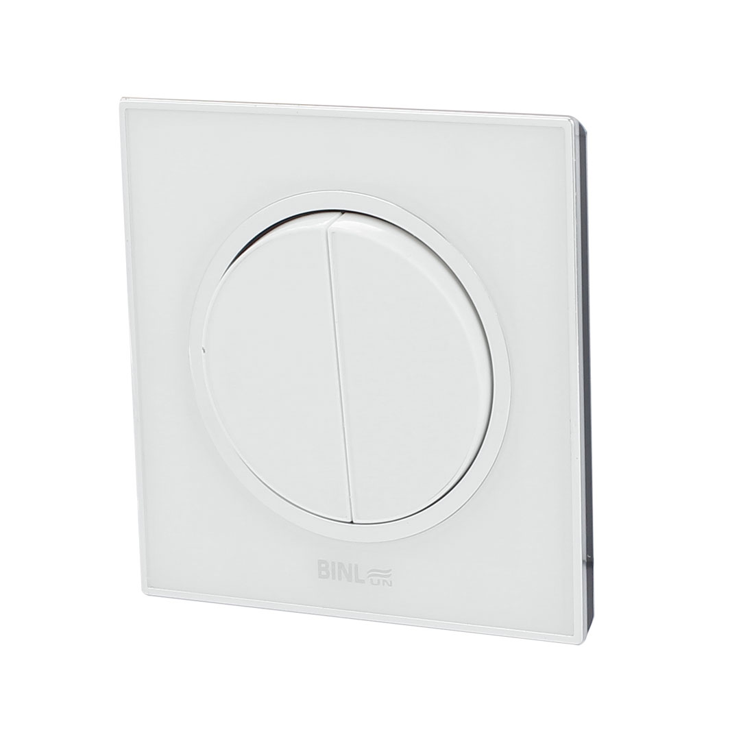 AC 220V 10A White PMMA 2 Gang 2 Way On/Off Wall Mounted Switch Control 86x86mm