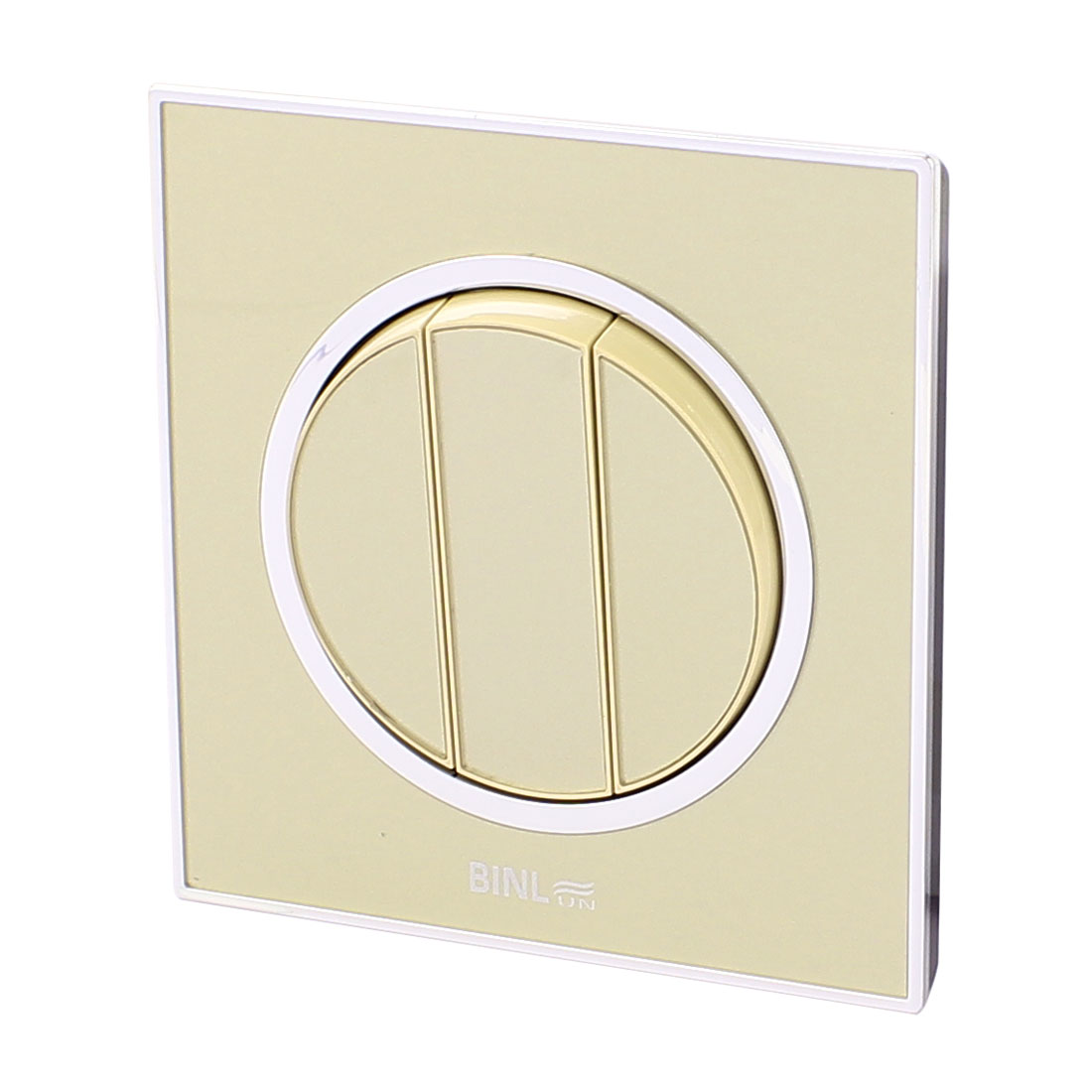 86 Type 3 Gang 1 Way On/Off Press Button Wall Mounted Panel Switch Golden AC 220V 10A