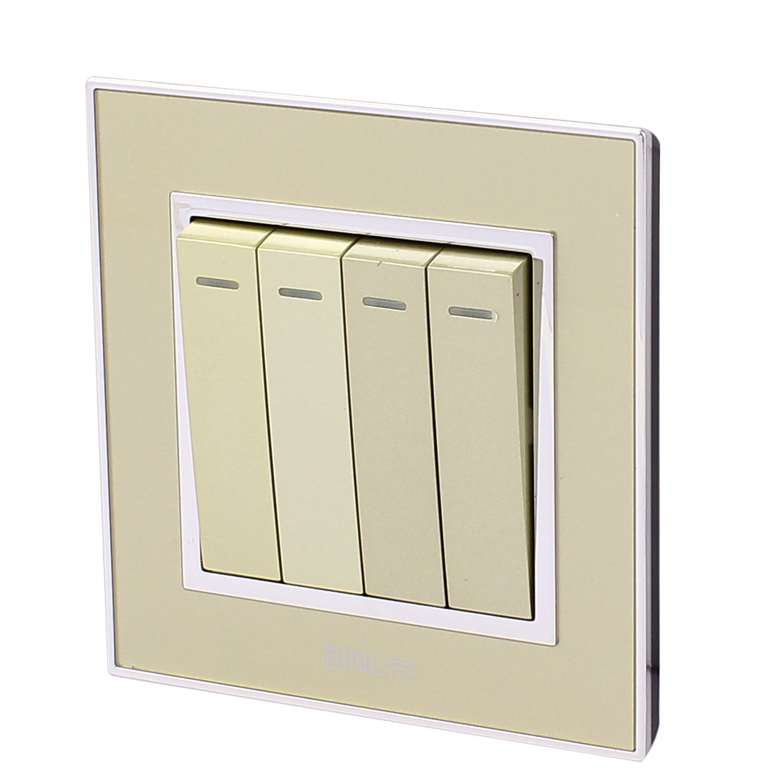 86 Type 4 Gang 1 Way On/Off Press Button Wall Mounted Panel Switch w Indicator Light