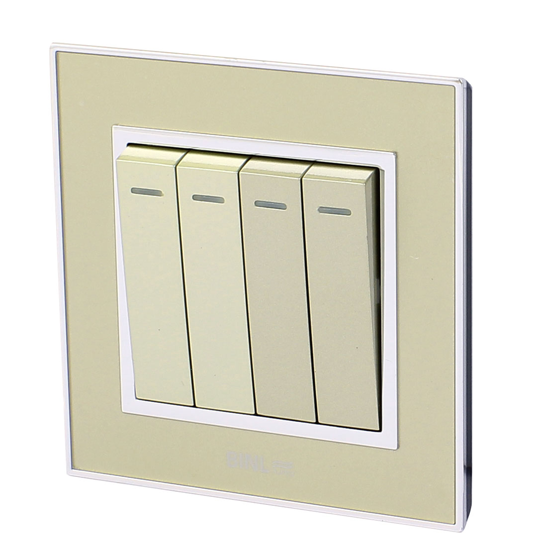 4 Gang 2 Way On/Off Press Button Wall Mounted Switch Plate AC 220V 10A w Status Light