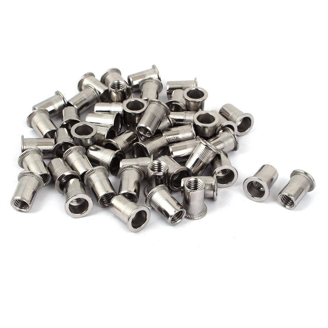 M10 Stainless Steel Flat Head Rivet Nut Insert Nutsert Silver Tone 50pcs