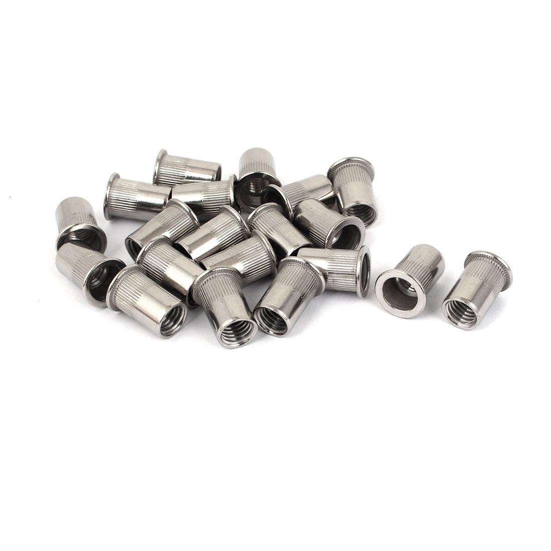 M12 Stainless Steel Flat Head Rivet Nut Insert Nutsert Silver Tone 20pcs