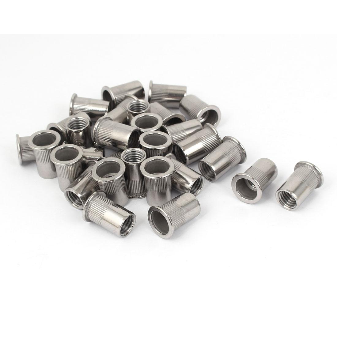 M12 Stainless Steel Flat Head Rivet Nut Insert Nutsert Silver Tone 30pcs
