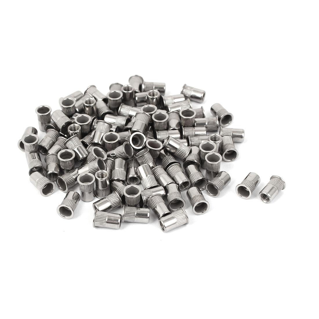 M4 304 Stainless Steel Rivet Nut Insert Nutsert Silver Tone 100pcs