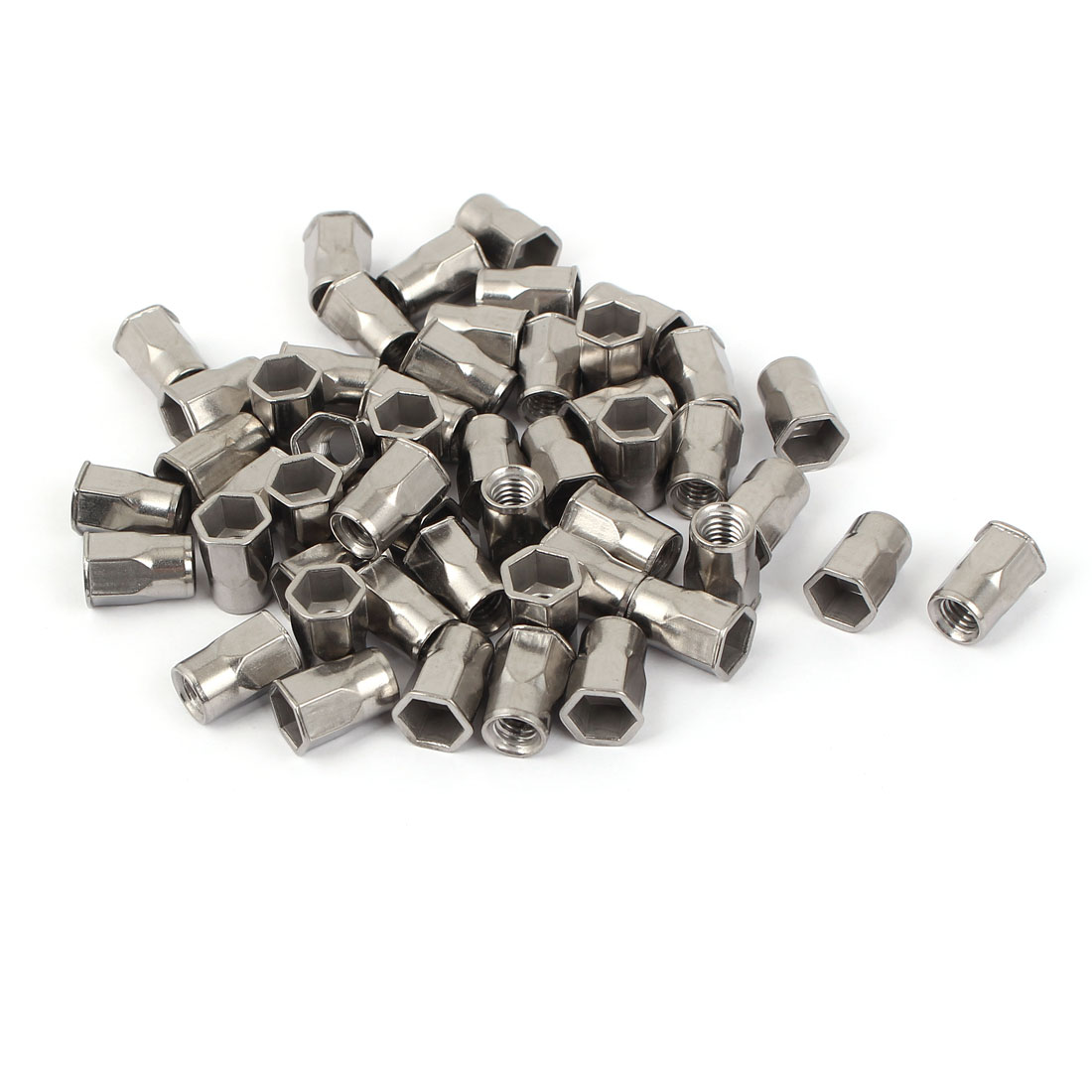 M6 Stainless Steel Hex Flat Head Rivet Nut Insert Nutsert 50pcs
