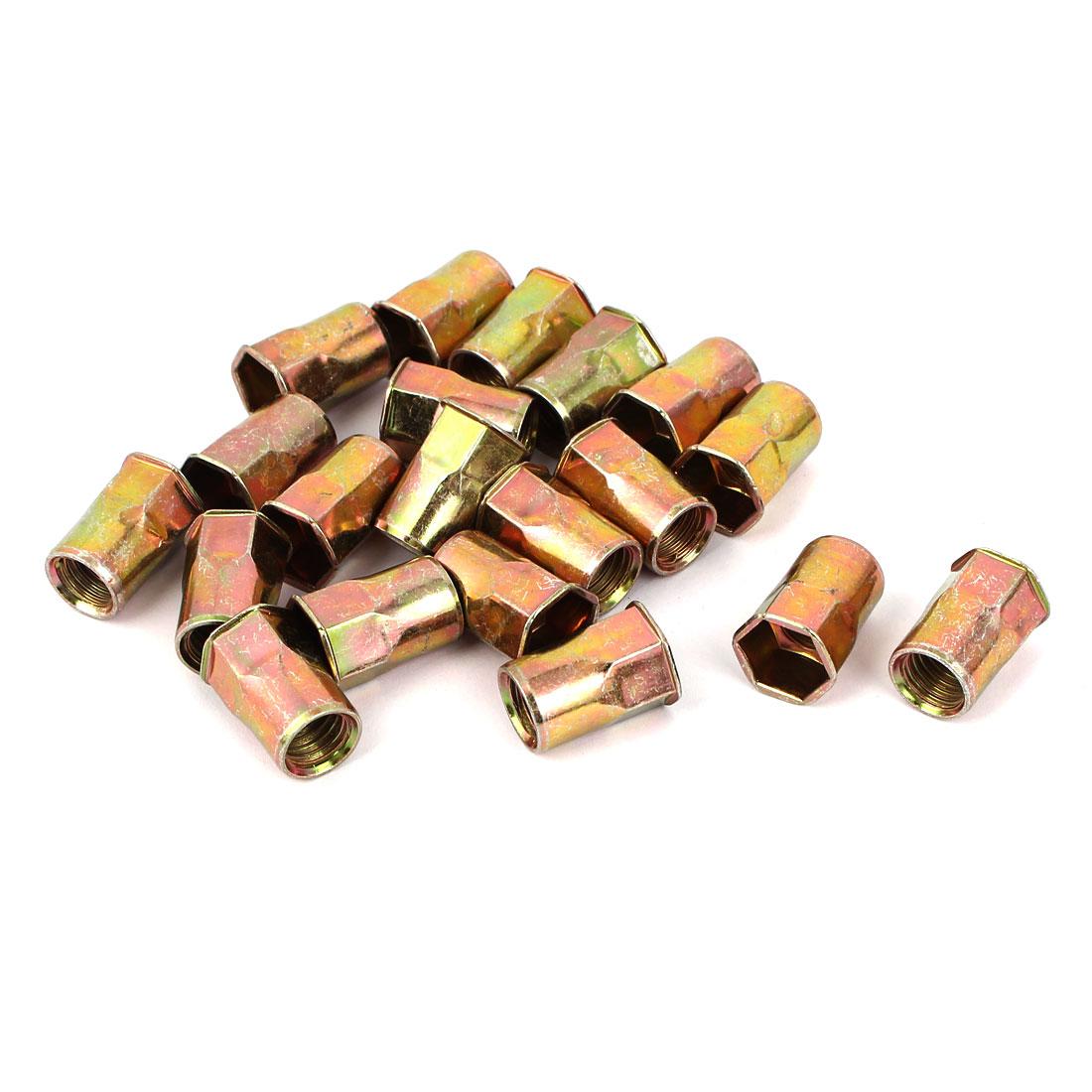 M10 Flat Head Rivet Nut Insert Nutsert Bronze Tone 20pcs