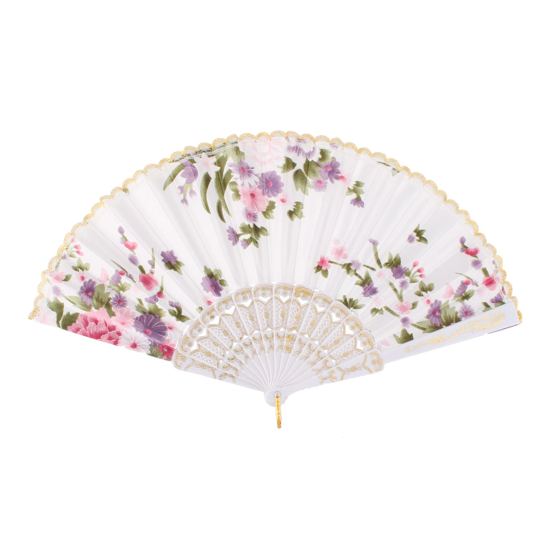 Women Party Dancing Flower Pattern Classical Style Hanging Foldable Hand Fan