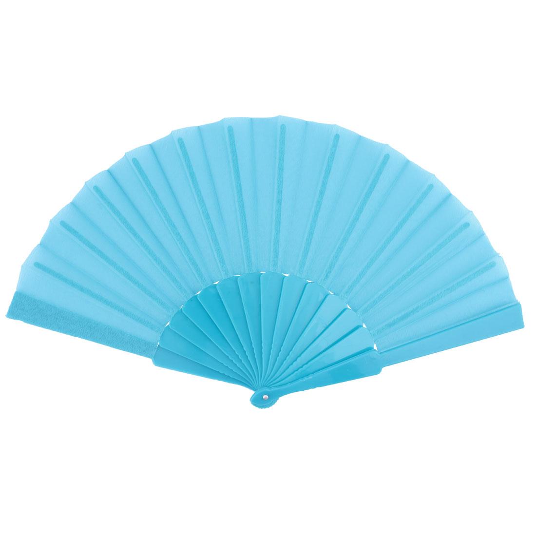 Woman Party Show Plastic Frame Portable Handheld Folding Fan Ornament Sky Blue