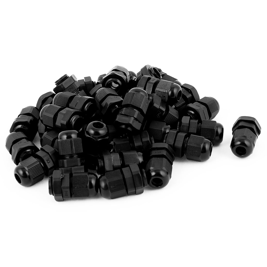 36 Pcs Waterproof Adjustable PG9 4-8mm 33 x 22mm Black Cables Gland