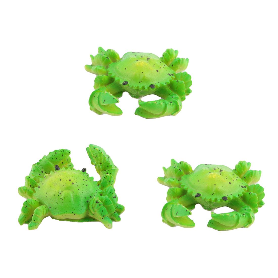 Family Fish Tank Aquarium Ceramic Crab Designed Manmade Ornament Green 3pcs