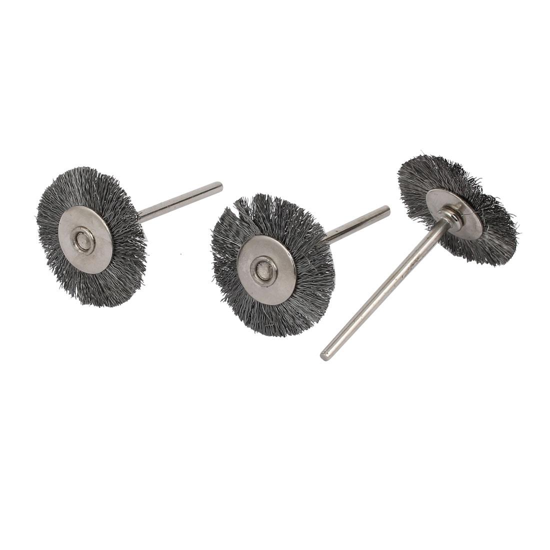 25mm Dia 2.35mm Shank T Shaped Steel Wire Wheel Brush Polishing Rotary Tool 3pcs