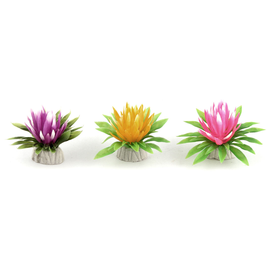 Aquarium Fish Bowl Ceramic Base Plastic Emulational Plant Grass Decoration 3 Pcs