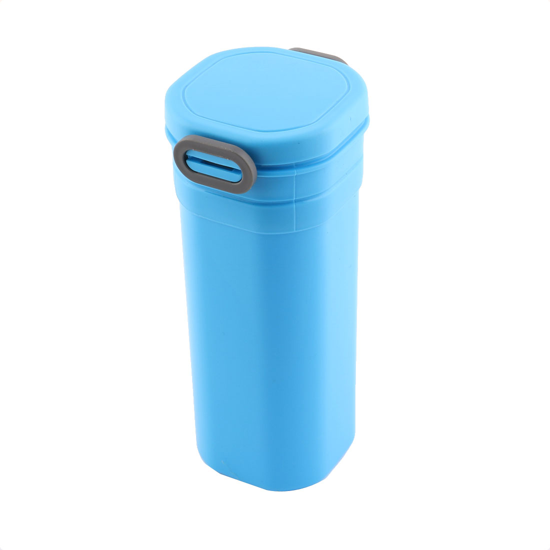 Family Office Plastic Portable Water Coffee Holder Bottle Cup Blue Gray 600ml
