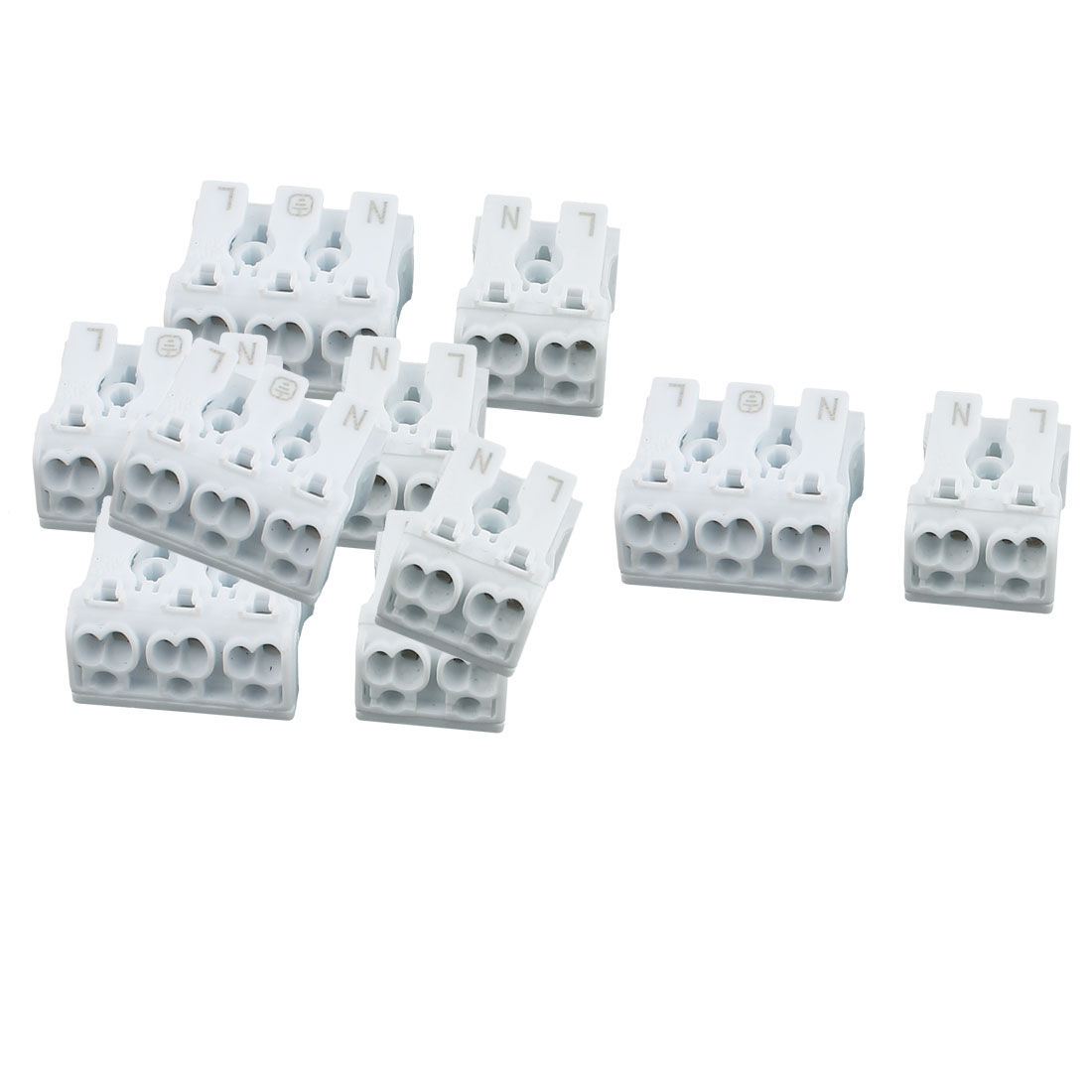 10 Pcs Audio Cable Wire Push in Jack Socket 2&3 Position Speaker Terminal Block White