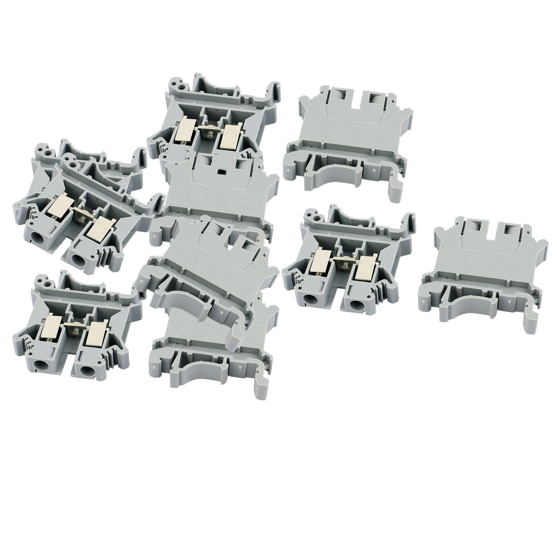 10 Pcs UK-6N 800V 57A 6mm2 28-12AWG DIN Rail Screw Clipping Terminal Block Connector