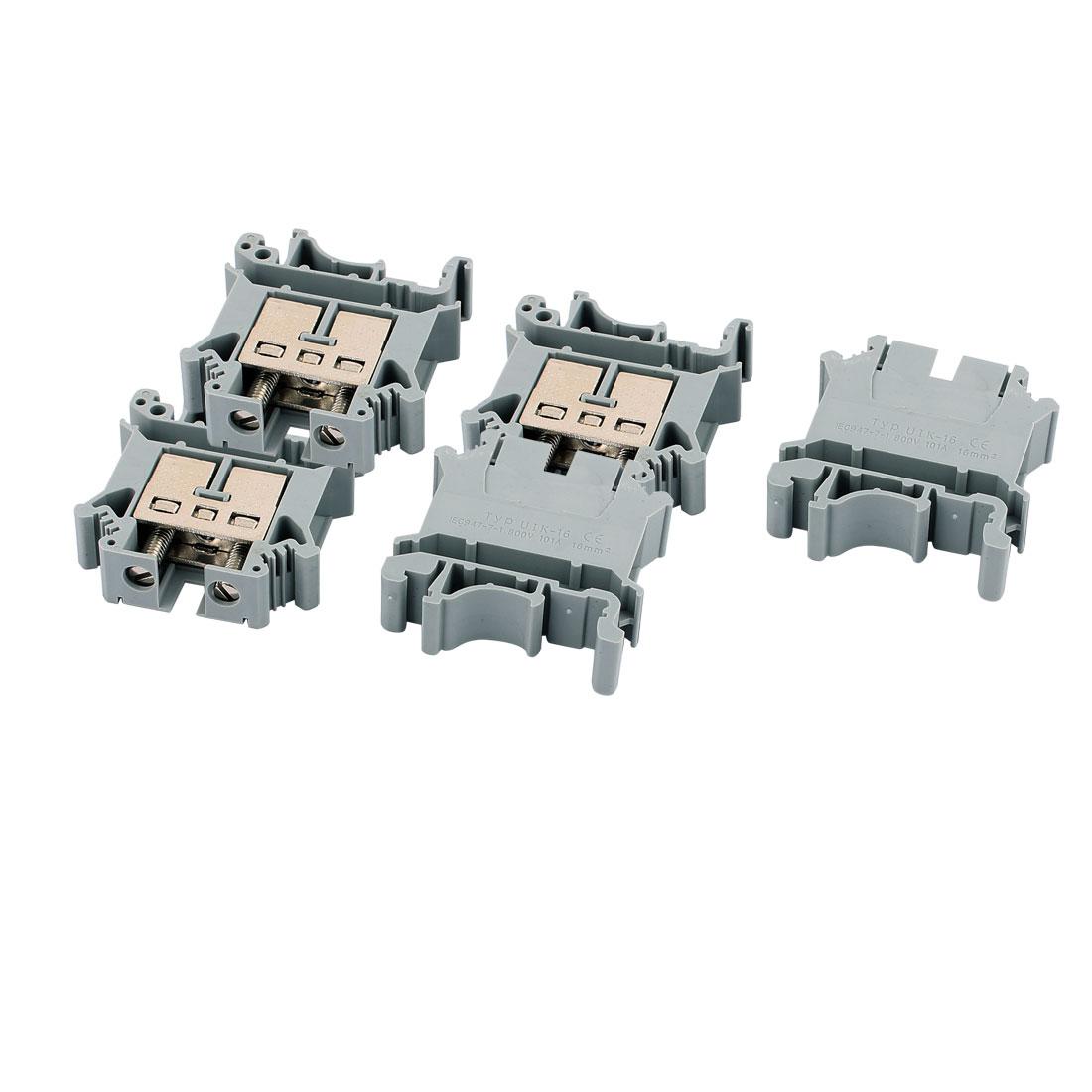 5 Pcs 101A 800V UK-16B Screw Contact Terminal Block Connector Gray