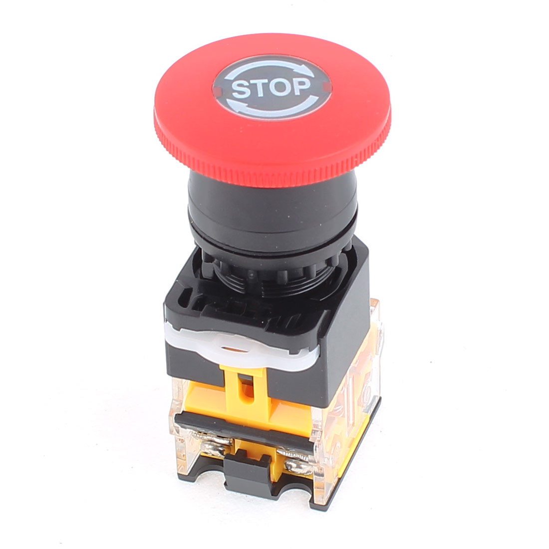 400V 10A DPST 4 Screw Terminals Emergency Stop Red Mushroom Push Button Switch