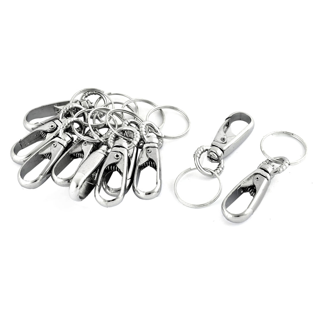 Metal Clasp Round Pendant Self Closing Keychain Keyring Silver Tone 6.8cm Length 10pcs