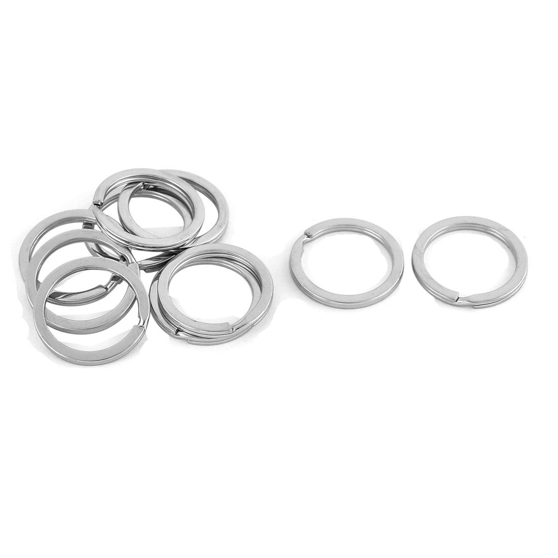 Metal Glossy Double Loop Split Ring Keyring Silver Tone 2.5cm Diameter 10 Pcs