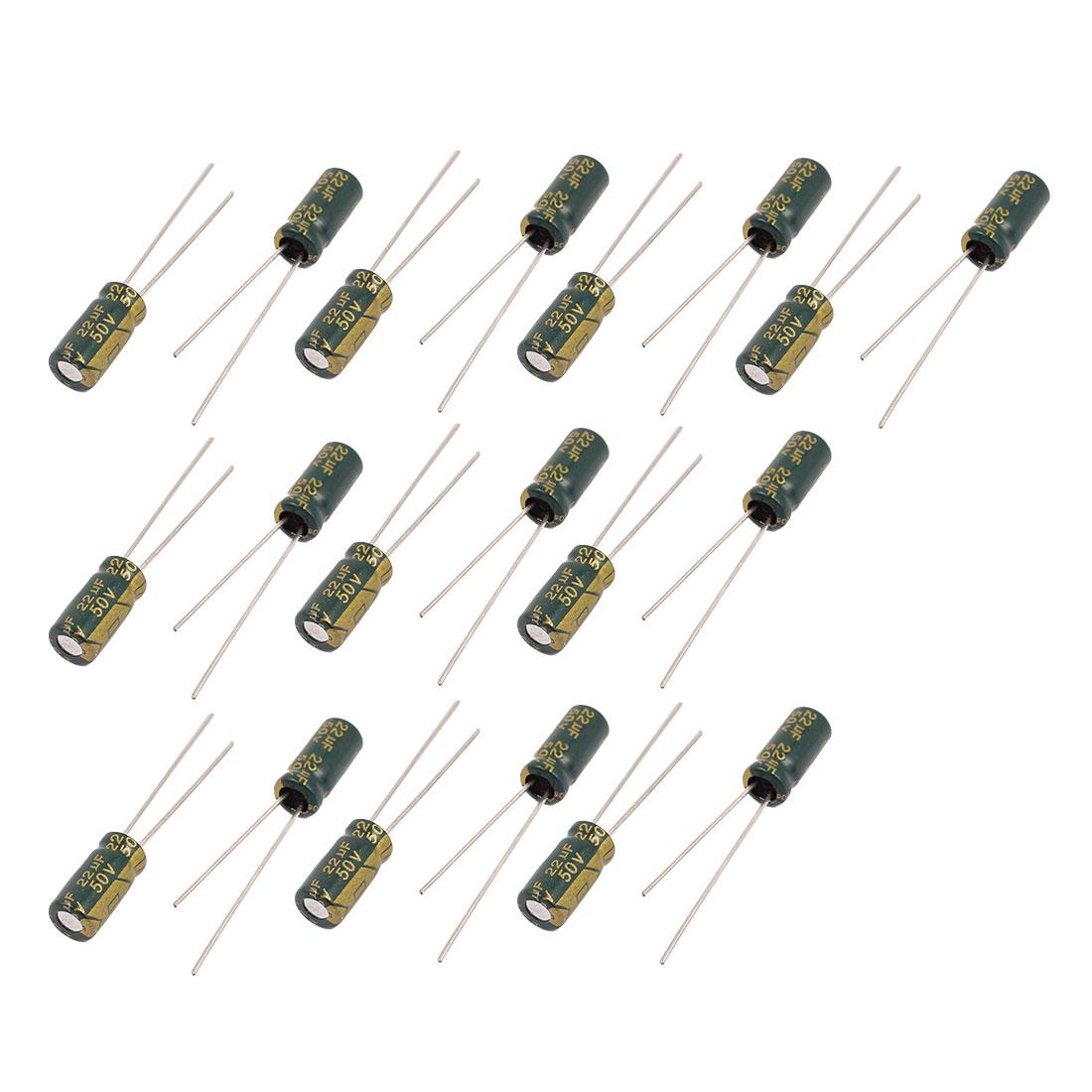 19Pcs 50V 22uF Aluminum Electrolytic Capacitors 105 degree Celsius 5x11mm