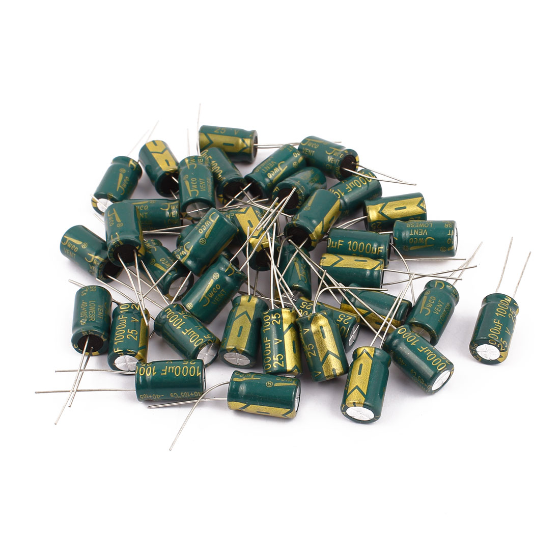38Pcs 25V 1000uF Aluminum Electrolytic Capacitors 105 degree Celsius 10x17mm