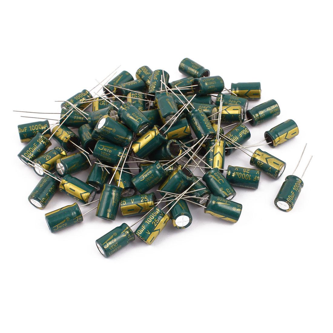 64Pcs 25V 1000uF Aluminum Electrolytic Capacitors 105 degree Celsius 10x17mm