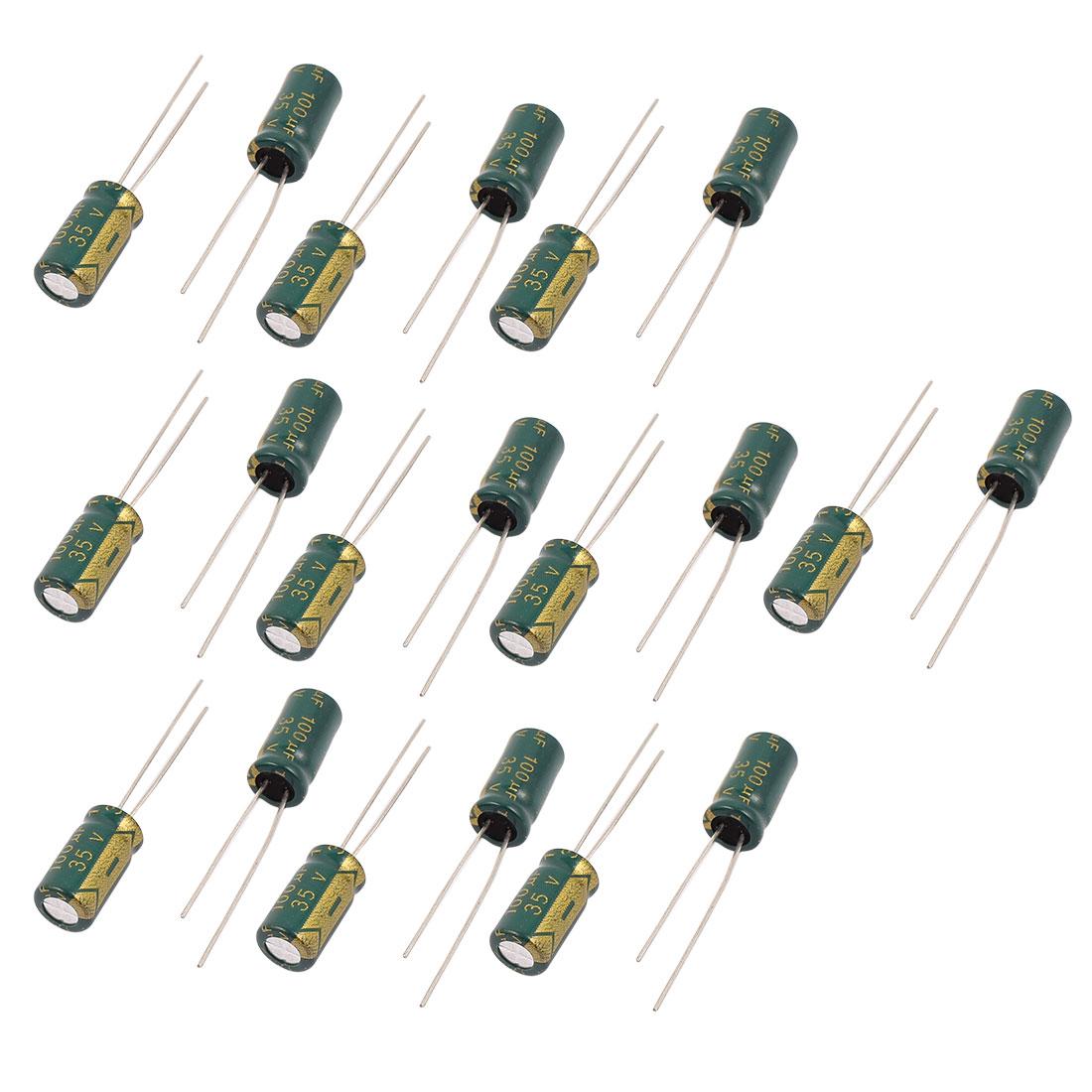 19Pcs 35V 100UF Aluminum Electrolytic Capacitors 105 degree Celsius 6.3x12mm