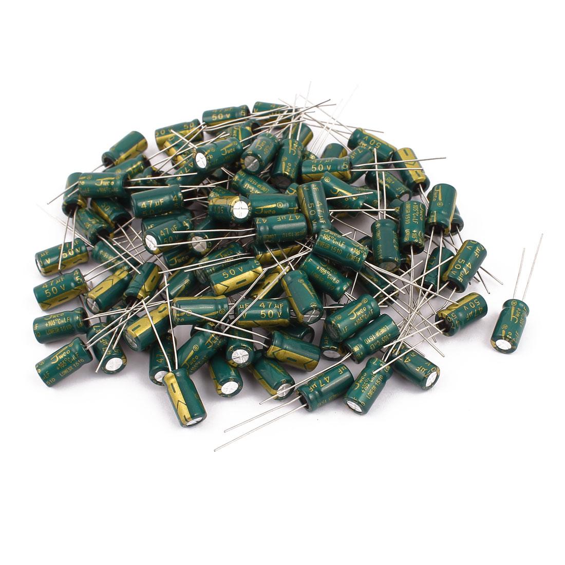 96Pcs 50V 47UF Aluminum Electrolytic Capacitors 105 degree Celsius 6.3x12mm
