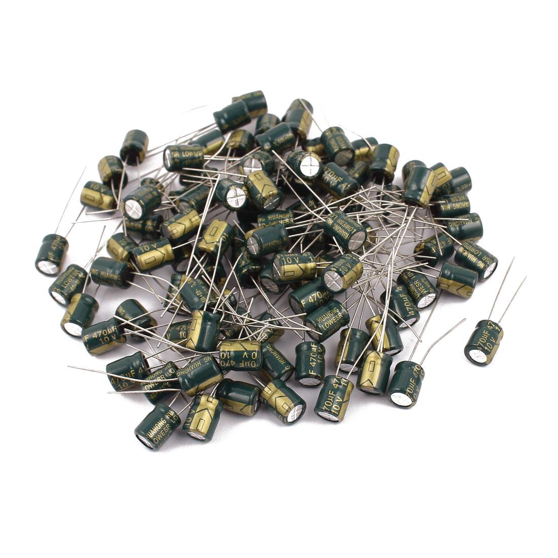 96Pcs 10V 470UF Aluminum Electrolytic Capacitors 105 degree Celsius 6.3x7mm