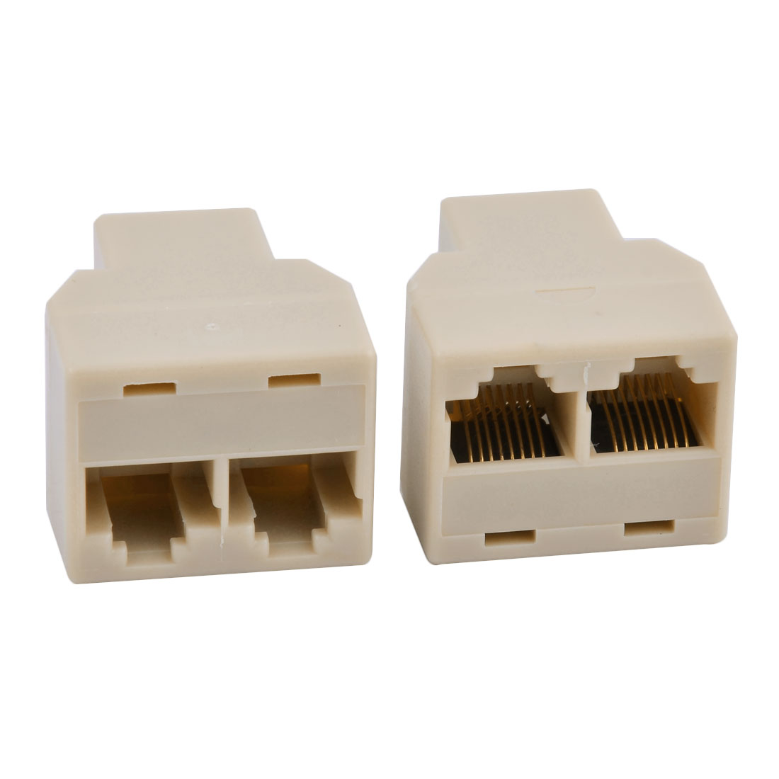 RJ45 8P8C Keystone 1 to 2 Dual Port Network Ethernet Extender Connector Splitter Beige 2pcs