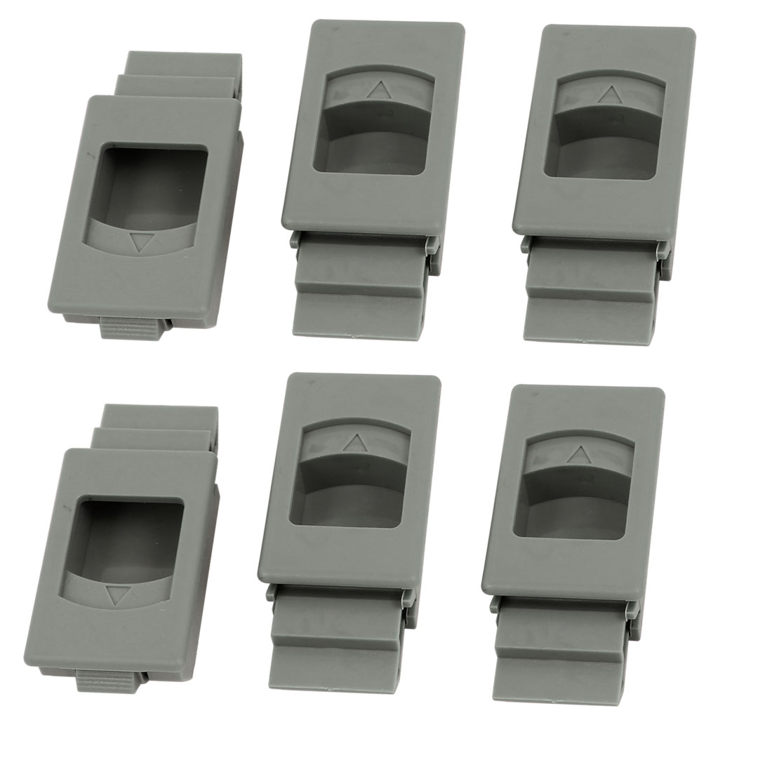 Window Door Inside Pull Rectangular Plastic Slide Latch Fittings Gray 6pcs